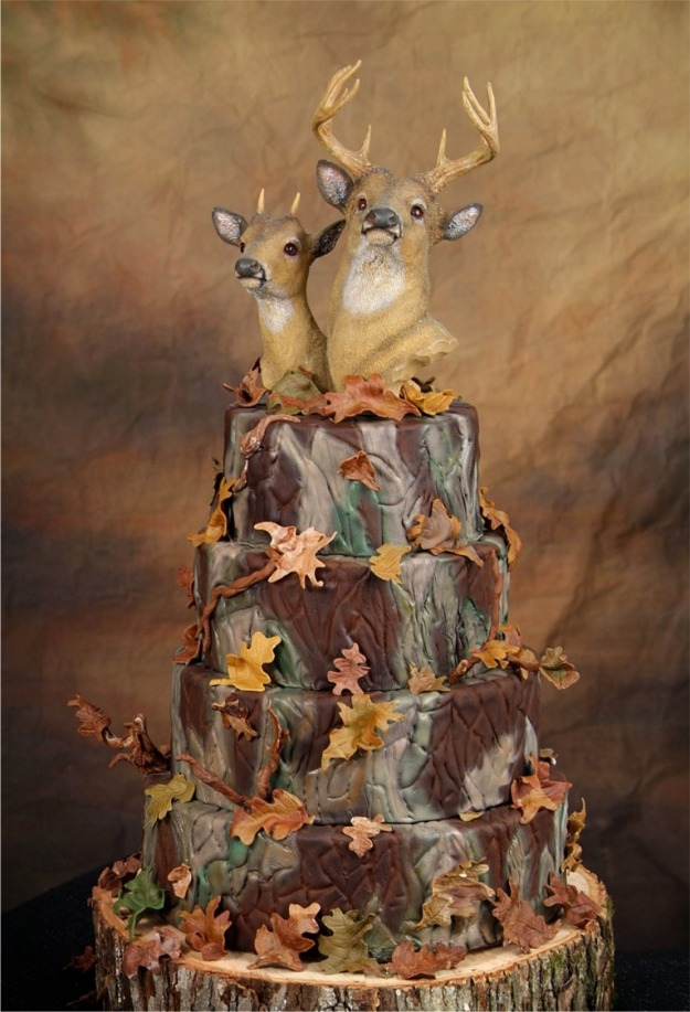 Camo Deer Wedding Cake